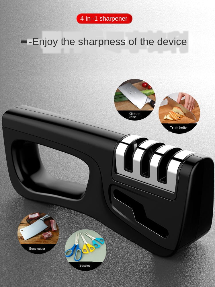 4-in-1 Kitchen Knife Accessories: 3-Stage Knife Sharpener Helps Repair, Restore and Polish Blades