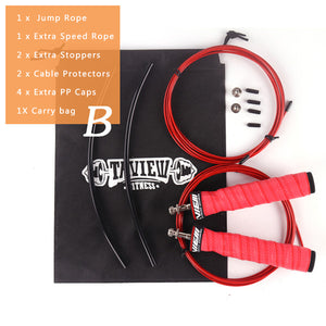 Weighted Jump Ropes Crossfit Skip Speed Jump Rope with Extra Speed Cable Ball Bearings Anti-Slip Handle for Double Unders