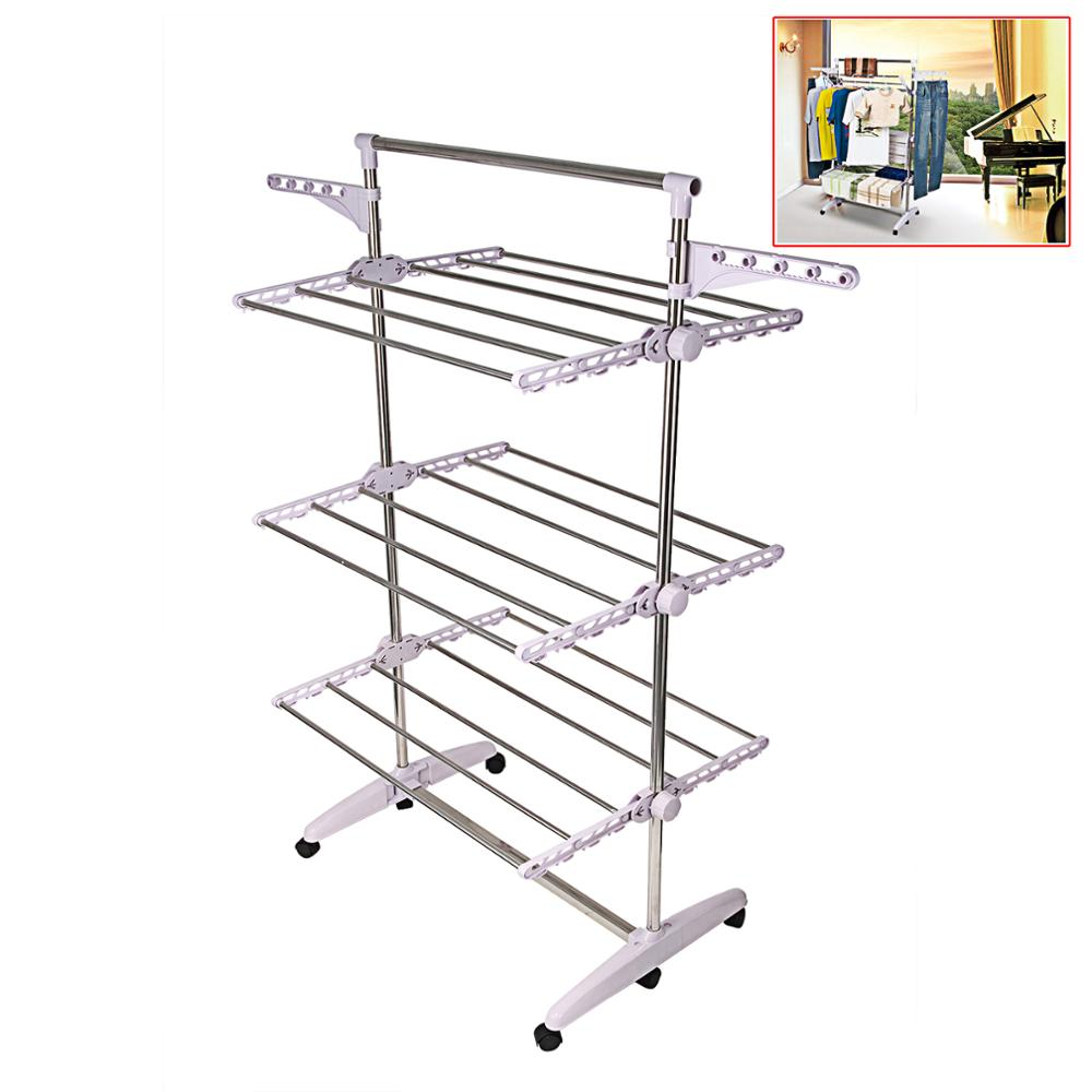 Multifunction Stainless Clothes Hanger For Clothes Dryer Folding Floor Laundry Dryer Rack Clothes Horse