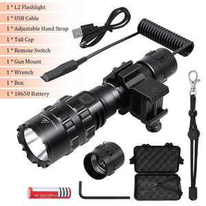Tactical Flashlight 1600 Lumen with Flashlight Mount Clip + Rechargeable Battery + Remote Switch Oudoor Hunting Weapon Light
