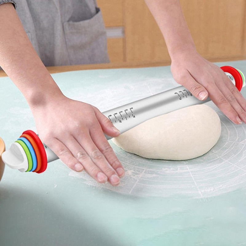 Stainless Steel Rolling Pin with Detachable Ring Adjustable 17 Inch Dough Roller for Cookie Pastry Pizza Dumplings Kitchen Tools