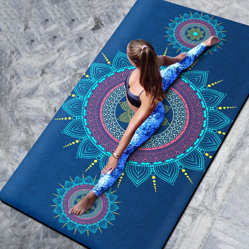 66CM/80CM Natural TPE Slip-resistant Yoga Mats Yoga Blanket Folding Fitness Mat High Temperature Suede Travel Printing