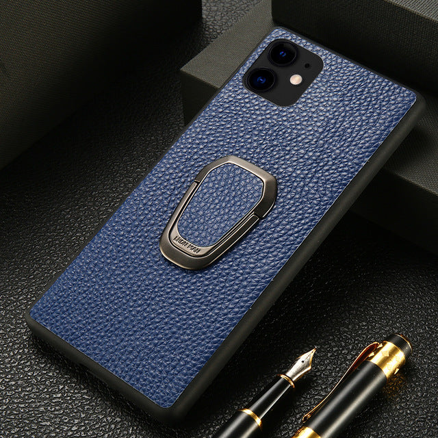 Original Litchi Grain Leather Phone Case for iPhone 11 Pro Max X XS Max XR 7 8 Plus 6 6s 7 Plus SE 2020 Magnetic Kickstand Cover
