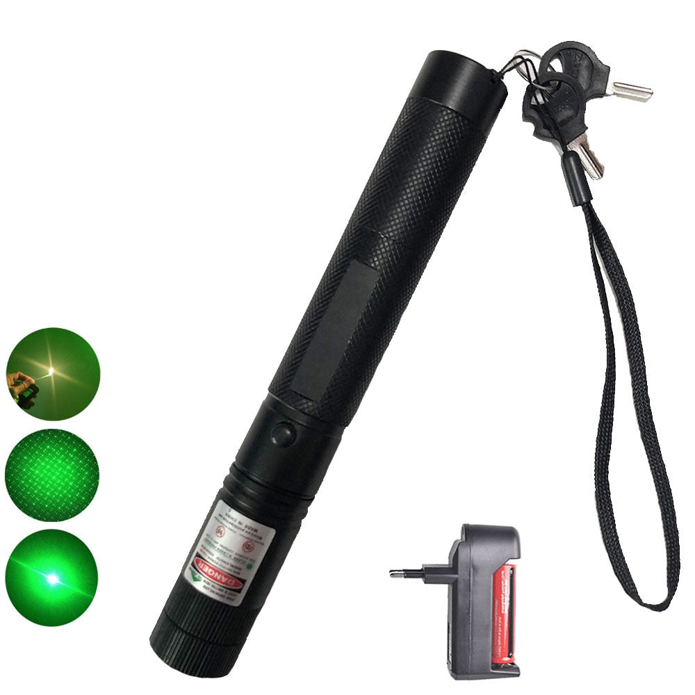 Powerful 10000m 532nm Green Laser Sight laser pointer Powerful Adjustable Focus Lazer with laser pen Head Burning Match