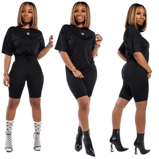 2020 Women Sets Summer Tracksuits Short Sleeve Top Shorts Suit Two Piece Set Sportswear Night Club Party Slim Outfits