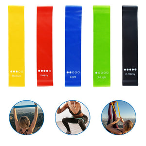 5 sizes  Indoor Yoga Fitness Equipment 0.35mm-1.1mm Outdoor Rubber Band Pilates Exercise Workout Rubber Band