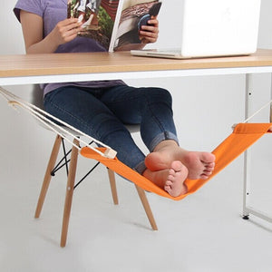 60*16cm Hammock Stand Office Foot Rest Stand Desk Feet Hammock Easy to Disassemble Study Indoor Orange