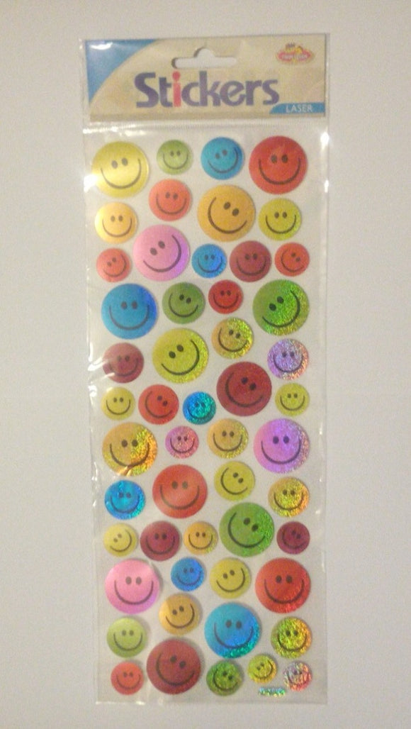 Smiley Face Stickers - Sparkly