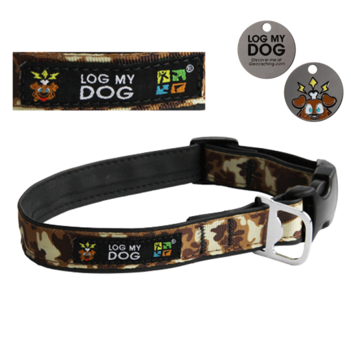 Log My Dog Collar - Camo Brown - Medium