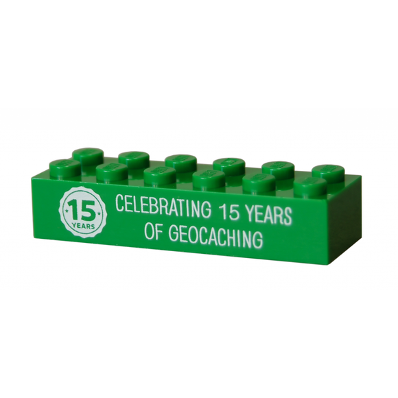 15 Years of Geocaching Trackable LEGO® Brick - Green