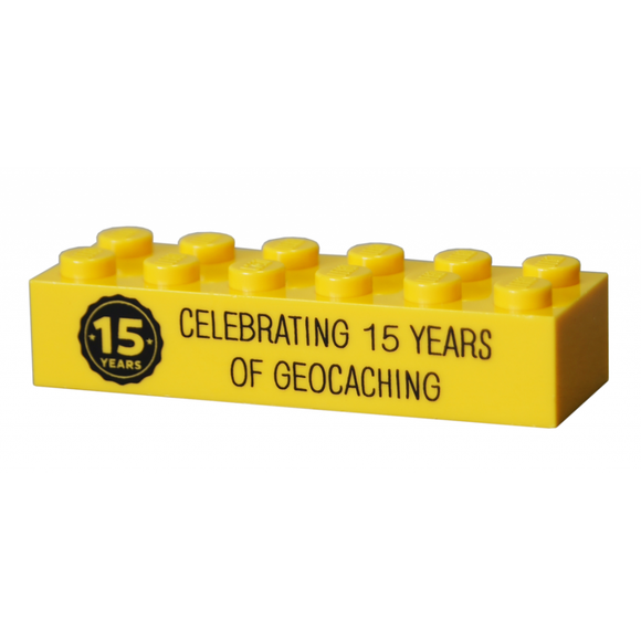 15 Years of Geocaching Trackable LEGO® Brick - Yellow