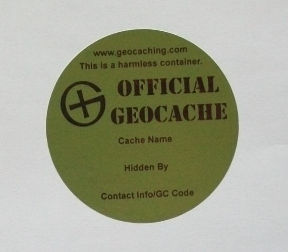 Geocache Label - Round 6cm - Green