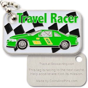 Travel Racer Late Model Green Trackable Tag