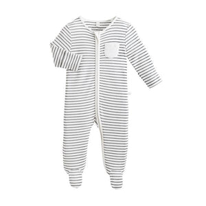 SLEEPSUIT ZIP-UP GREY STRIPE