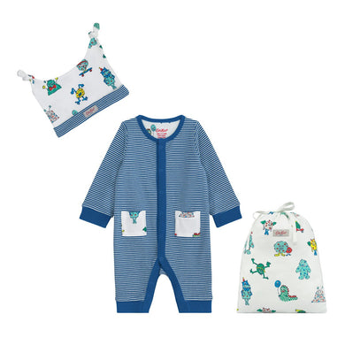 FOOTLESS SLEEPSUIT, HAT AND BAG LITTLE STRIPE