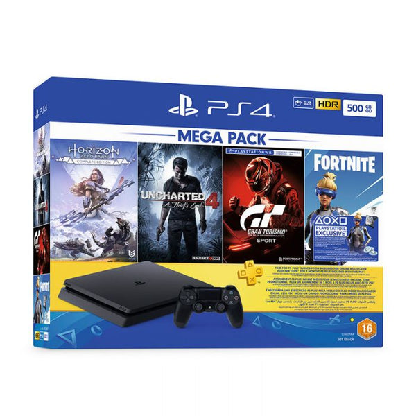 Sony PlayStation 4 Slim 500GB PS4 SLim Jet Black Mega Bundle With 3 Months PlayStation Plus Subscription + 4 Games (Uncharted 4, Horizon Zero Dawn, Gran Turismo, Fortnite) - 2071MALL
