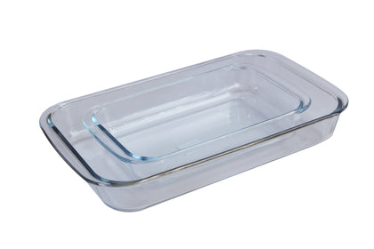 Royalford RF2709-GBD Glass Oblong Baking Dish Set 2 Pcs, Glass Oblong Glass Baking Tin Set 2Pcs2.2 and 1L, Durable and Sturdy Glass Material - 2071MALL