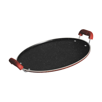 Royalford RF8378 Aluminium Round Tawa with Granite Finish 35cm - Heat Resistant Handle 5 Layer Non-Stick Surface with 4.5mm - 2071MALL