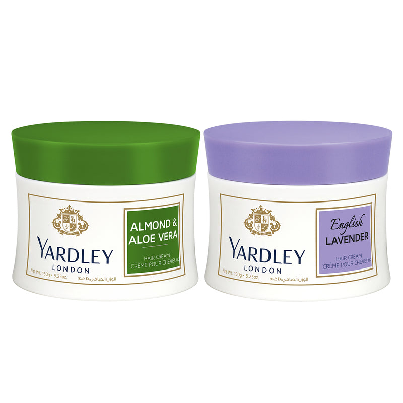 Yardley  Twin Hair Cream 20% Off (2X150Gm)-Almond and Aloe Vera+English Lavender - 2071MALL