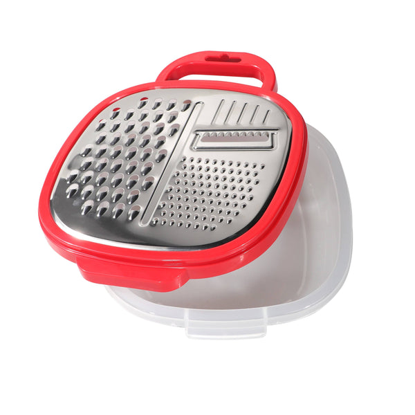 Delcasa DC1661 Large Box Grater 3 in 1 Cheese Grater for Kitchen with Storage Container 3 Blade Non-Stick Coating Shredder