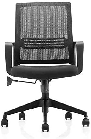Neo Front office chair black color Nylon material medium back low back with wheels computer chair study chair - 2071MALL
