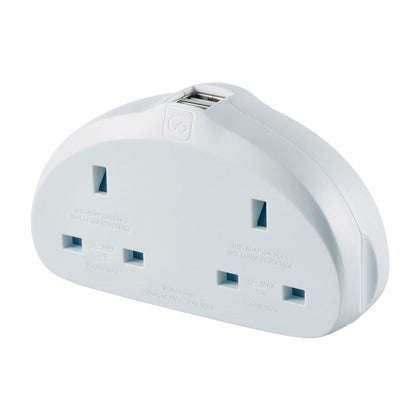 Go Travel Adaptor UK-USA Duo Adaptor + USB - White, 630 - 2071MALL