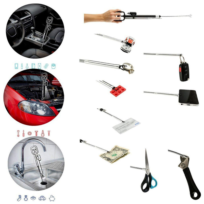 Odii - The Ultimate Grab-it Gadget Telescopic Claw, Telescopic Magnet, LED Light - A do it all 3-in-1, Multi Grabbing Tool designed for Car, Workplace and Home Use - Alluminum and Plastic - Black - 2071MALL