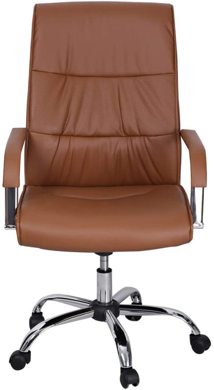 Galaxy Design Leather Office Chair with Wheel - Brown, GDF-810BR - 2071MALL