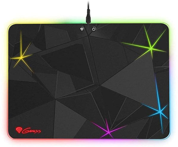 Genesis Boron 700 Lighting Gaming Mousepad 348mm x 250mm, Thickness 5 mm, Non-Slip Desk Pad Rubber, Brightness Level Switch, Mode Switch [Stable and Durable] - For PC/Mac Mice - PVC/Rubber - Black