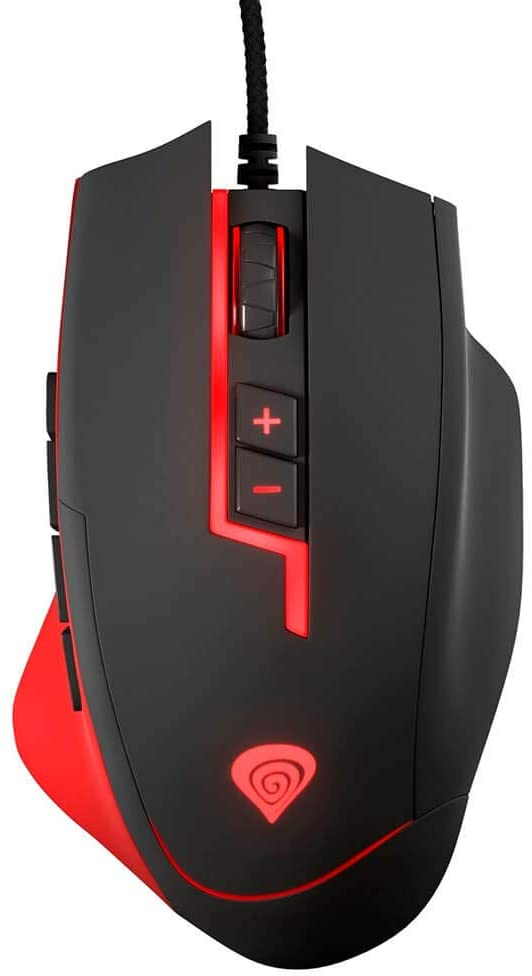 Genesis MMO Gaming Mouse GX85 8200 DPI Laser, Wired Gaming Mouse, 13 Programmable Buttons and Advanced Software, Adjustable Weights, On-Board Memory - PC, PC Gaming, Mac, Laptop - Black
