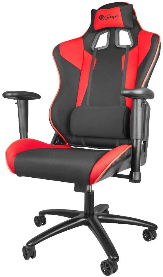 Genesis Nitro 770 Gaming Chair, Executive Ergonomic Adjustable Swivel Task Chair With Headrest, Lumbar Support and Armrest, Durable Metal Frame, Padded Seat- Faux Leather and Fabric - Black Red
