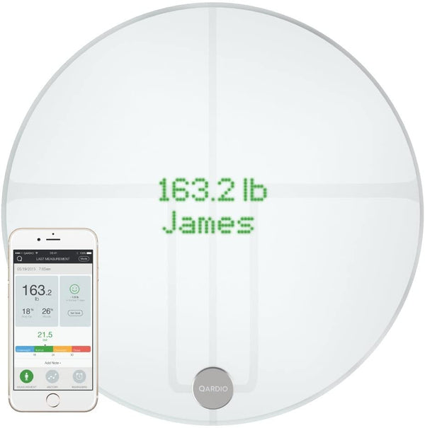Qardio Base2 Wifi Smart Scale And Body Analyzer: Monitor Weight, Bmi And Body Composition, Easily Store, Track And Share Data. Free App For Ios Android, Kindle. Works With Apple Health - White - 2071MALL