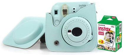 Fujifilm Instax Mini 9 Camera With Leather Bag and 20x Film Sheet - Ice Blue - 2071MALL
