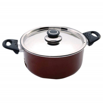 Royalford Non-Stick Cooking Pot 24CM - Portable Non-Stick Cookware Pot with Stainless Steel Lid & Heat-Resistant Handles - 2071MALL