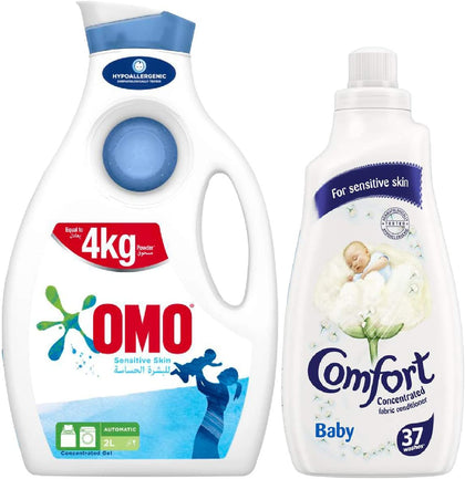 OMO Active Auto Laundry Detergent Liquid Sensitive Skin + Comfort Concentrated Fabric Softener Baby, 2 Litre + 1.5 Litre - 2071MALL