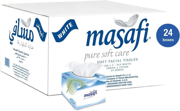 MASAFI White Boutique Facial Tissue - 24 boxes - 2071MALL