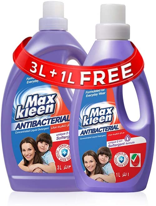 Maxkleen AntiBacterial Concentrated Liquid Detergent with 2in 1 Softergent Formula - For Daily Wear, 3L + 1L free - 2071MALL