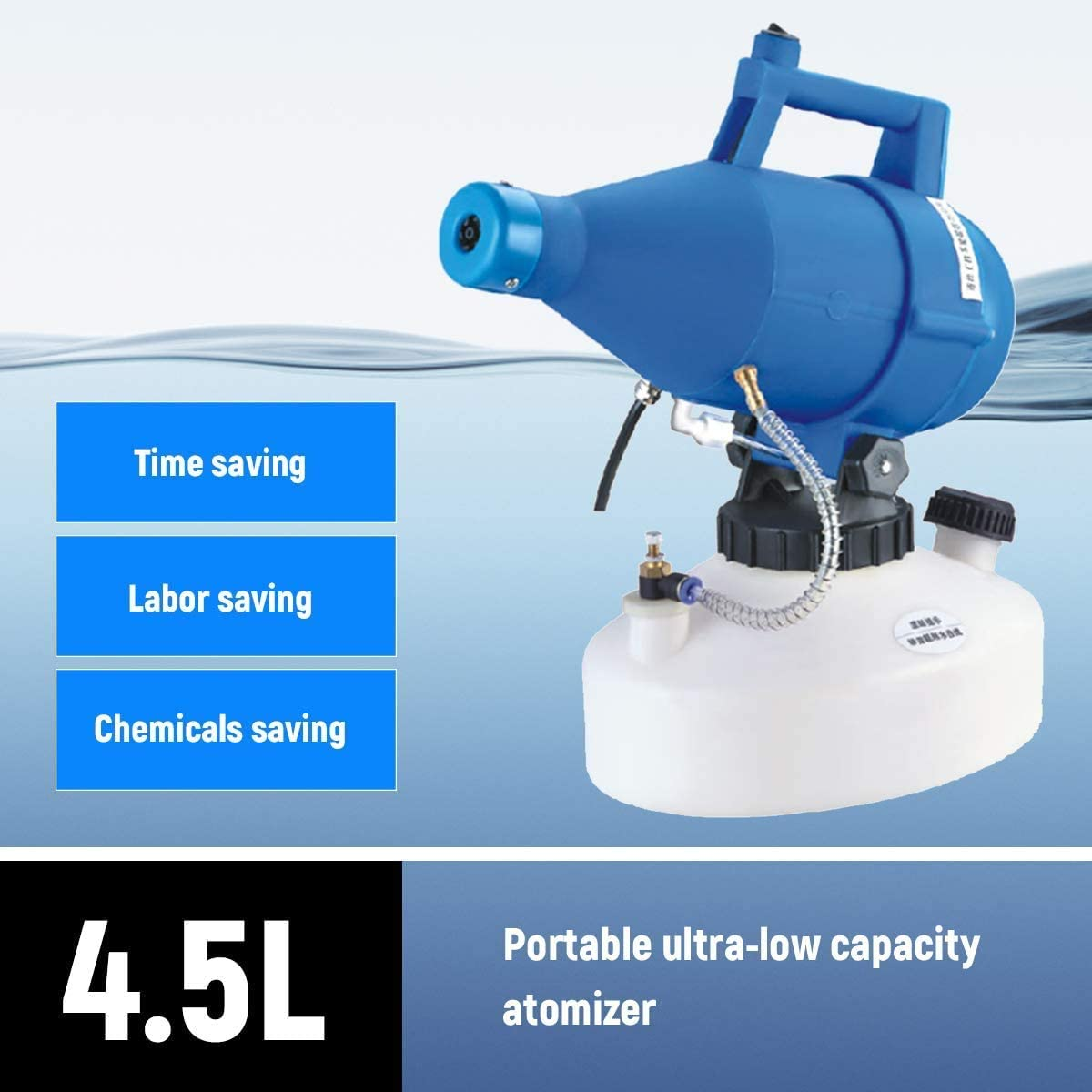 Decdeal Electric ULV Fogger Portable Ultra-Low Volume Atomizer Sprayer Fine Mist Blower Pesticide Nebulizer 4.5L by Accredity Lab + 1 Disinfectant Cleaner Free - 2071MALL