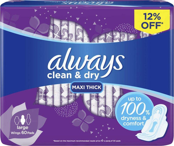 Always Clean & Dry Maxi Thick, Large sanitary pads, 60 pads - 2071MALL