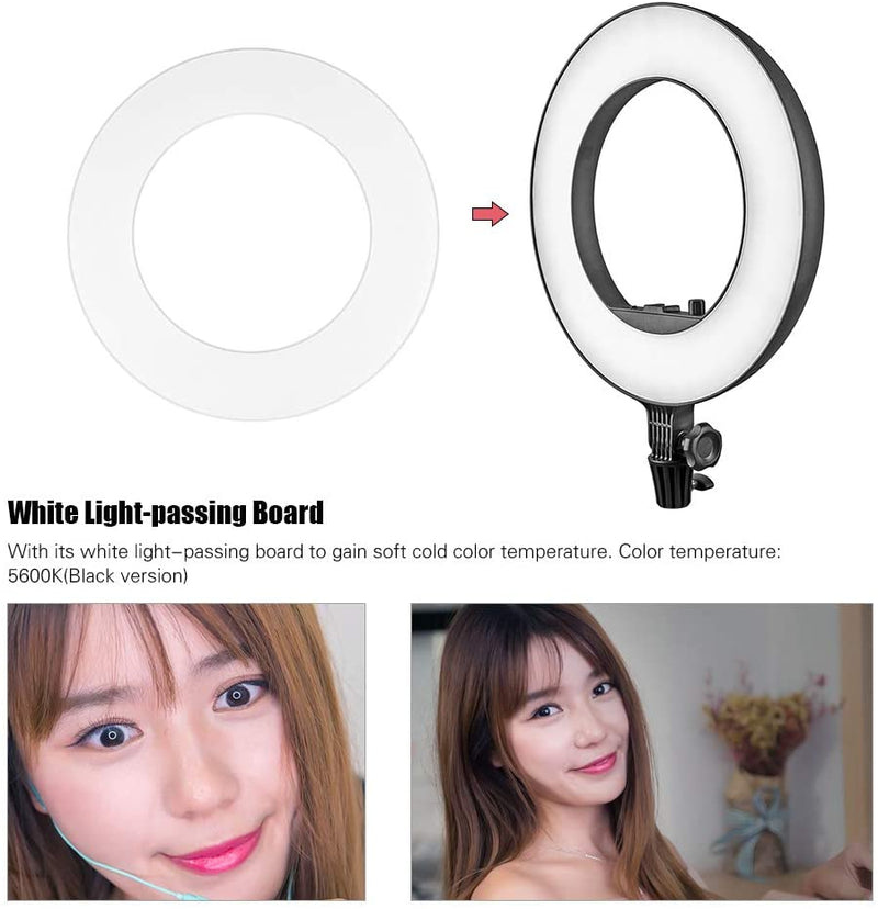 Godox LR180 Ring LED Video Light Cold Color Temperature with White Light-passing Board Phone Holder/CRI 92 TLCI 97 27W for Live Shooting Portrait Shooting Catchlight - 2071MALL