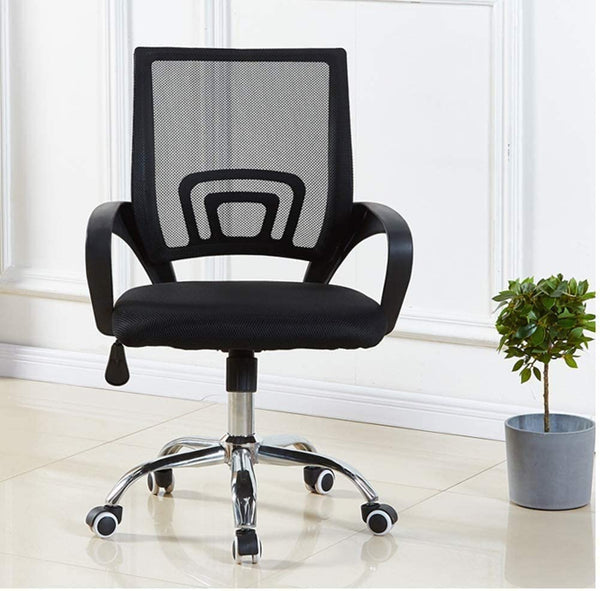 Mesh Chair Computer Fabric Desk Adjustable Ergonomic Swivel Lift, Black - 2071MALL