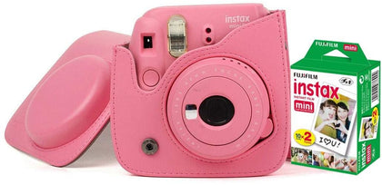 Fujifilm Instax Mini 9 Camera With Leather Bag and 20x Film Sheet - Flamingo Pink - 2071MALL