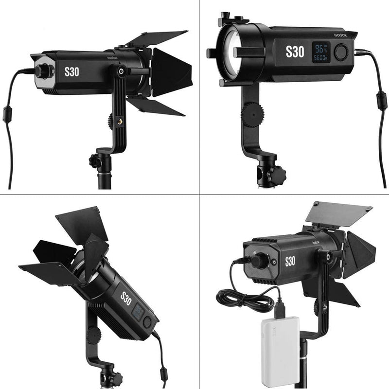 Godox S30-D 3-Light Focusing Spotlight Kit for Photography Lighting - Light Stands, Softbox,Barn Doors, Color Filter, GOBO Set, Carrying Case Accessory Kits - 2071MALL