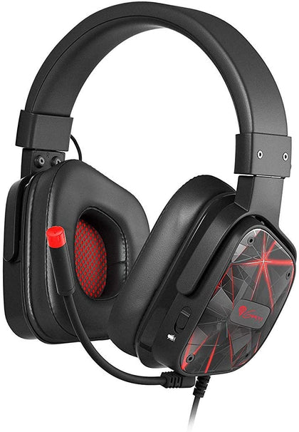 Genesis 7.1 Virtual Surround Stereo Sound USB, Gaming Headset with Microphone, Over-the-Ear, Quick Volume Change, 50MM Large Transducers, Soft Earpads- PCs, Laptops, PS4 and Switch  - Black / Red - 2071MALL