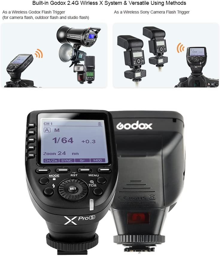 Godox XproS TTL Wireless Flash Trigger Transmitter Support TTL Autoflash 1/8000s HSS/ Large LCD/ 5 Group Buttons /11 Customizable Functions for Sony - 2071MALL