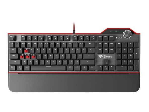 Genesis RX85 Gaming KeyBoard, Keys Mechanical, RGB Backlight with Anti-Ghosting Mechanical Switches and a Detachable Palm/Wrist Rest, USB Pass Through - Compatible with PC/PC Gaming/Laptop - Black