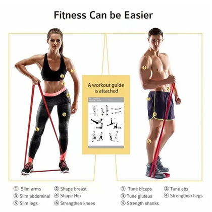 PBLX Exercise & Fitness Body Band W/Band Stretch Resistance of 80-120 LBS, Workout Bands, Multi-function Professional Equipment for Home & GYM Fitness with Anti Slip  - Latex - Amber Yellow, 70050 - 2071MALL
