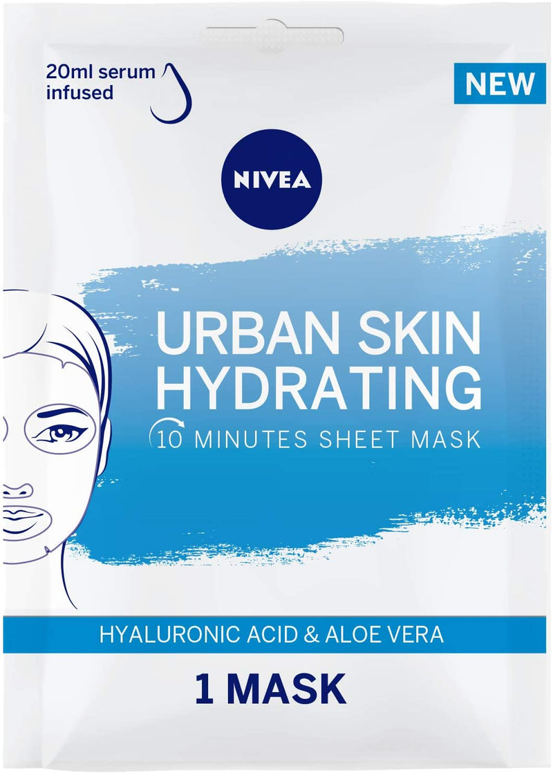 Nivea Face Urban Skin Hydrating Sheet Mask Hyaluronic Acid & Aloe Vera  1Pc - 2071MALL