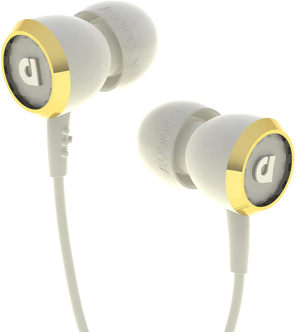 Audiofly Af33C In Ear Earbuds Noise Isolating Earphones With Cleartalk Microphone 3.5Mm Jack Wired Headphone - White - 2071MALL