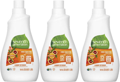 Seventh Generation Plant-based Concentrated Fabric Detergent Liquid Citrus, 1L (Pack of 3) - 2071MALL